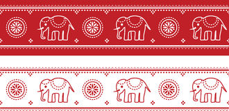 Seamless asian elephant border Royalty Free Stock Photo