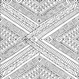Seamless asian ethnic doodle black, white pattern. Royalty Free Stock Photography