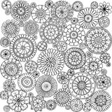 Seamless asian ethnic floral mandala doodle black and white pattern Stock Image