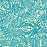 Seamless asian ethnic floral retro doodle background pattern in vector with feathers. Royalty Free Stock Photo
