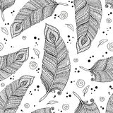 Seamless asian ethnic floral retro doodle background pattern in vector with feathers. Stock Photos
