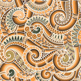 Seamless asian ethnic floral retro doodle background pattern in Stock Image