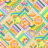 Seamless asian ethnic floral retro doodle background pattern in vector. Henna paisley mehndi doodles design tribal pattern. Royalty Free Stock Photos