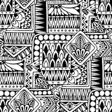 Seamless asian ethnic floral retro doodle black and white background pattern in vector. Royalty Free Stock Photography