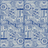 Seamless asian ethnic floral retro doodle blue monochrome background pattern in vector. Royalty Free Stock Photos