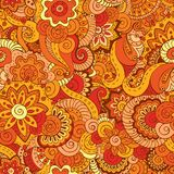 Seamless asian ethnic floral retro doodle pattern Stock Photos