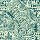 Seamless asian ethnic floral retro doodle pattern in vector. Background with geometric elements. Royalty Free Stock Photos