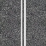 Seamless asphalt road texture. With the double dividing full-line. Road top view template Stock Images