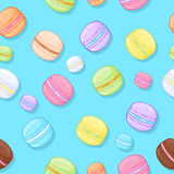 Seamless assorted macarons pattern. Royalty Free Stock Photo