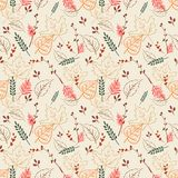 Seamless  pattern with  digital autumn leaves stock illustration