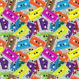 Seamless audio tapes pattern Royalty Free Stock Image