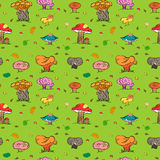Seamless Autumn Background. Colorful Hand Drawn Cute Mushrooms, Caterpillar, Snail, Ant and Falling Leaves. Stock Image
