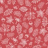 Seamless autumn doodle leaves vector background. White leaves on a dark pink background. Acorns, oak tree, maple tree pattern. Seamless autumn doodle leaves stock illustration