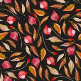 Seamless autumn floral pattern with watercolor red leaves. Hand drawn  on a dark background Royalty Free Stock Photo