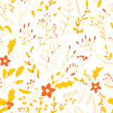 Seamless autumn garden pattern. Seamless floral pattern. Hand drawn autumn garden with leaves, berries and branches Stock Photos