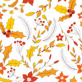 Seamless autumn garden pattern. Seamless floral pattern. Hand drawn autumn garden with leaves, berries and branches Stock Image