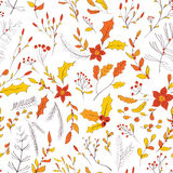 Seamless autumn garden pattern. Seamless floral pattern. Hand drawn autumn garden with leaves, berries and branches Royalty Free Stock Photo