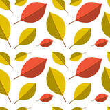 Seamless autumn leafs pattern. Red and yellow leaves on white background Royalty Free Stock Photography
