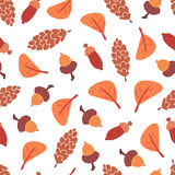 Seamless autumn leaves, cones and acorns pattern. Stock Images