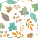 Seamless autumn leaves pattern royalty free illustration