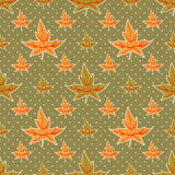 Seamless autumn leaves pattern on dotted green Royalty Free Stock Photography