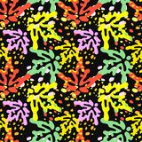 Seamless autumn leaves pattern,trendy print in collage cut out, Stock Photography