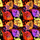 Seamless autumn leaves pattern,trendy print in collage cut out, Stock Image