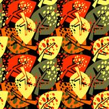 Seamless autumn leaves pattern,trendy print in collage cut out, Stock Images