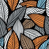 Seamless autumn ornament. Vector illustration with stylized leaves. Colorful abstract background royalty free illustration