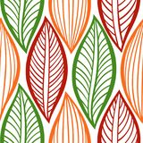 Seamless autumn ornament. Vector illustration with stylized leaves. Colorful abstract background stock illustration