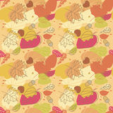 Seamless Autumn Pattern. With leaves Stock Photography