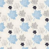 Seamless Autumn pattern,abstract blue leaf Royalty Free Stock Image