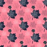 Seamless Autumn pattern,abstract  leaf on a pink Royalty Free Stock Images