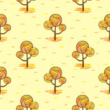 Seamless autumn pattern with abstract mosaic trees. Vector watercolor autumn forest background Royalty Free Stock Images