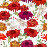 Seamless autumn pattern with asters and gerberas on white. Endless texture Royalty Free Stock Photography