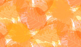 Seamless autumn pattern with colorful translucent leaves a. Nd watercolor splashes for your creativity Royalty Free Illustration