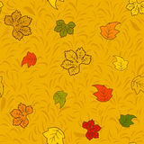 Seamless autumn pattern with colourful fairy leaves Royalty Free Stock Photo