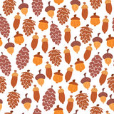 Seamless autumn pattern of cones and acorns Royalty Free Stock Photos