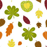 Seamless autumn pattern with decorative leaves. Vector background Stock Illustration