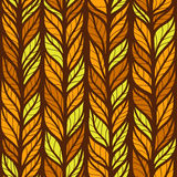 Seamless autumn pattern with doodle leaves Stock Photo