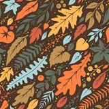 Seamless autumn pattern from falling leaves and twigs. Vector texture Stock Illustration