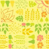 Seamless autumn pattern with flowers and foliage on a yellow background. Texture for print, wallpaper, home decor, textile, package design royalty free illustration