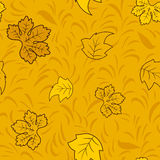 Seamless autumn pattern with golden fairy leaves Royalty Free Stock Photo