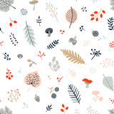 Seamless autumn pattern with leaves, berries, mushrooms and bran. Ches.Vector Royalty Free Stock Photos