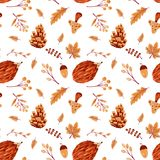 Seamless Autumn Pattern with Leaves and Hedgehog