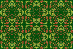 Seamless autumn pattern with leaves and rowan. Geometric pattern of autumn leaves forming stars Stock Photo