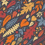 Seamless autumn pattern with leaves and twigs. Vector texture Royalty Free Illustration