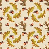Seamless autumn pattern with leaves stock illustration