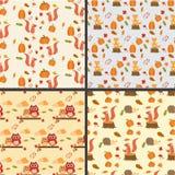 Seamless autumn pattern  with little fox ,pumpkins,owls,squirrel Stock Photo