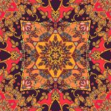 Seamless autumn pattern with Mandala in orange tones. Silk scarf. Carpet. Vector illustration. Lovely tablecloth Royalty Free Stock Photo